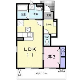 サニースクエアーⅡ1階Fの間取り画像
