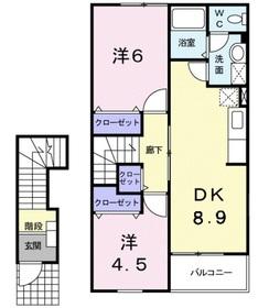 アラモードB2階Fの間取り画像