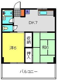セゾンドカサハラⅠ3階Fの間取り画像