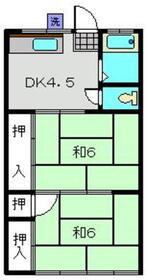 渡辺コーポ1階Fの間取り画像