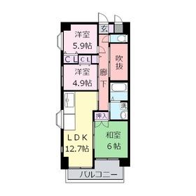 レクセルコスモ2階Fの間取り画像