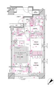 オーパスレジデンス銀座イースト8階Fの間取り画像