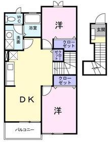 湘南台駅 バス21分「吉岡芝原」徒歩4分2階Fの間取り画像