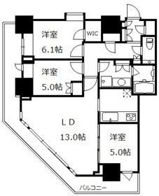 勝どきビュータワー43階Fの間取り画像