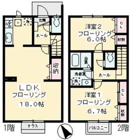 ヴェルヴィル三輪1-2階Fの間取り画像