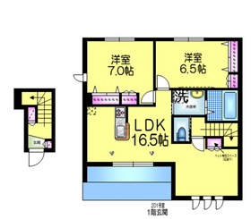 Chateau HEBEL大津ヶ丘 チョーテーユヘーベル2階Fの間取り画像