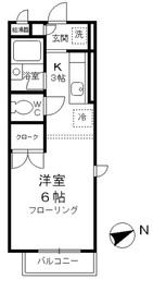 リジェールむさしの2階Fの間取り画像