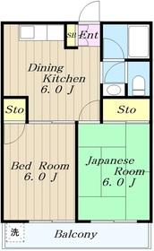 ジュネスマンション2階Fの間取り画像