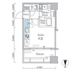 パークキューブ亀戸9階Fの間取り画像