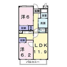 エレガンツァB2階Fの間取り画像