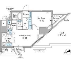 パークアクシス駒込11階Fの間取り画像