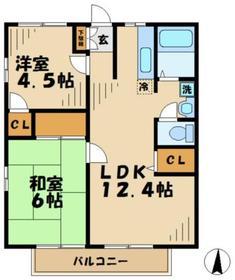 ファミール田倉2階Fの間取り画像