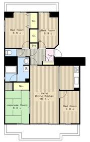 新ゆりグリーンアカシア街区7号棟12階Fの間取り画像