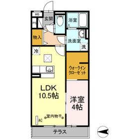 ドミール社家Ⅱ1階Fの間取り画像