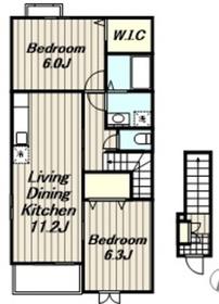 レオ・ビーナ2階Fの間取り画像