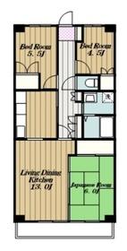 本厚木ロイヤルマンション5階Fの間取り画像