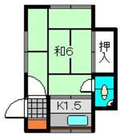 武田アパート1階Fの間取り画像