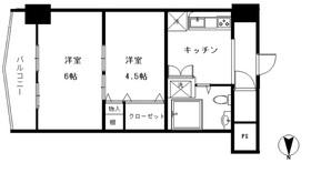 カーサ大岡山7階Fの間取り画像