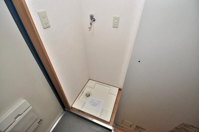 新深江池田マンション 嬉しい室内洗濯機置場。これで洗濯機も長持ちしますね。