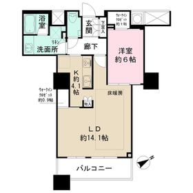 ザ・パークハウス西新宿タワー6050階Fの間取り画像
