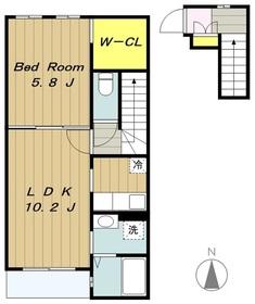 エフズハイド2階Fの間取り画像