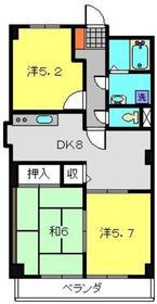プラザ片倉3階Fの間取り画像