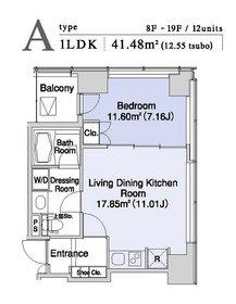 プラティーヌ新宿新都心14階Fの間取り画像