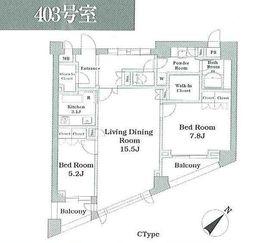 パシフィックレジデンス目黒本町4階Fの間取り画像