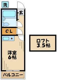 コーポアメニティ2階Fの間取り画像