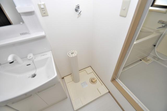 サンビレッジ・ラポール 室内洗濯機置き場は脱衣場も兼ねています。