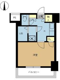 スカイコート神田第33階Fの間取り画像