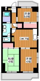 三高橘ハイツ6階Fの間取り画像