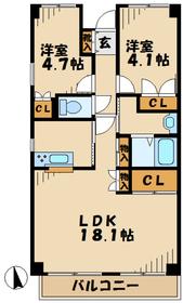 本厚木駅 車13分4.0キロ2階Fの間取り画像