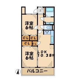 コモドアロッジオ1階Fの間取り画像