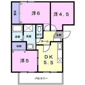 ヴェルジェ2階Fの間取り画像