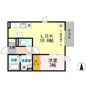 ジュネス湘南1階Fの間取り画像
