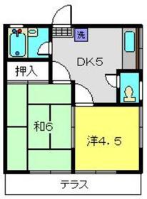 川越ハイツ1階Fの間取り画像