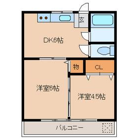信栄マンション2階Fの間取り画像