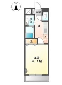 カーサひまわり Ⅱ1階Fの間取り画像