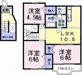 メゾンソレーユⅡ2階Fの間取り画像