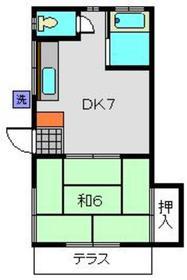 三村荘1階Fの間取り画像