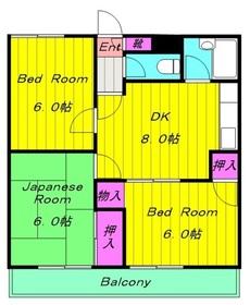 石垣ハイツ2階Fの間取り画像