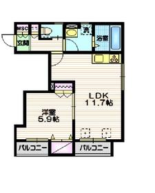 ベルグレイス2階Fの間取り画像