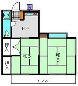 双葉荘1階Fの間取り画像