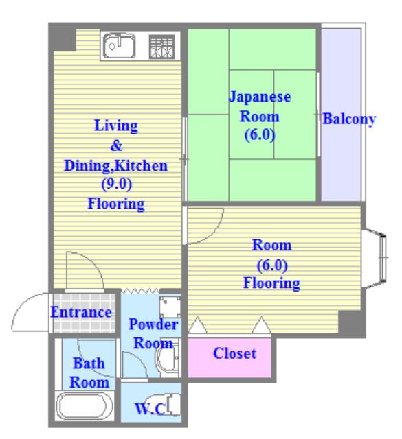 日栄ビル3号館 セパレートで和室もありファミリータイプにはおススメの間取です。