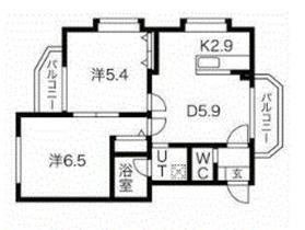 メゾンドクラ2階Fの間取り画像