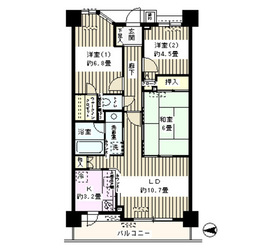 コスモ葛西臨海公園ロイヤルコート5階Fの間取り画像