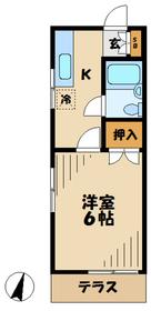 ハイツ富沢1階Fの間取り画像