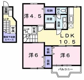 鶴川駅 バス13分「国本学園前」徒歩3分2階Fの間取り画像