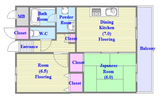メゾンイサム セパレートで和室もありファミリータイプにはおススメの間取です。
